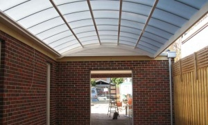 curved roof with light